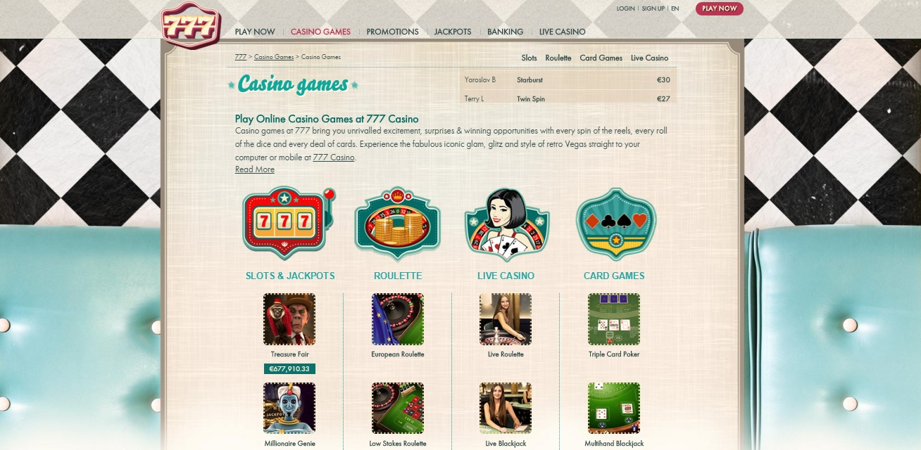777 casino games selection